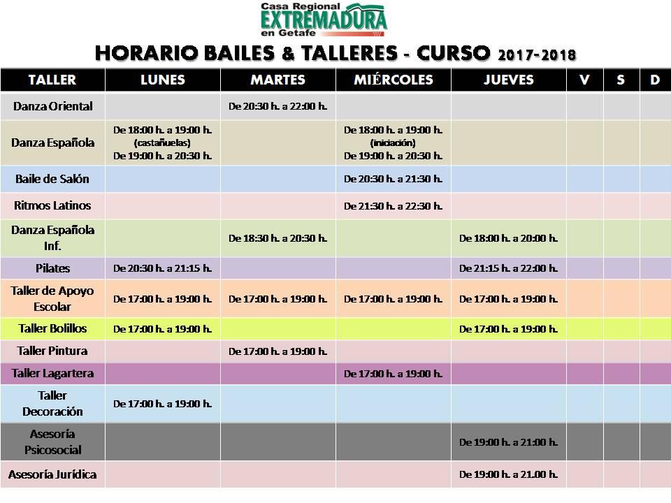 Horario Bailes & Talleres 2017-2018