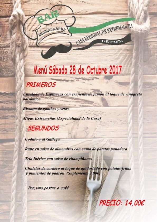 Menú Bar CREG Día 28.10.2017 (Bolillos)